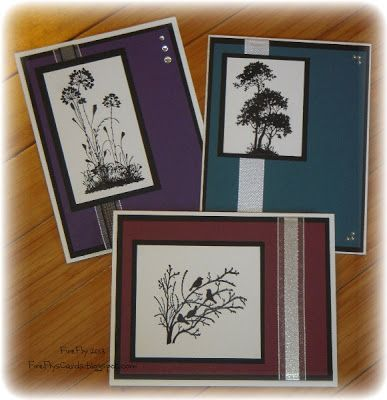 "handmade notecard set by FireFly's Cards: Three Silhouettes ... like the unity of this set with similar design and colors ... each one with a different image from the same stamp set ...  could easily be a ""masculine"" card ... Stampin' Up!"
