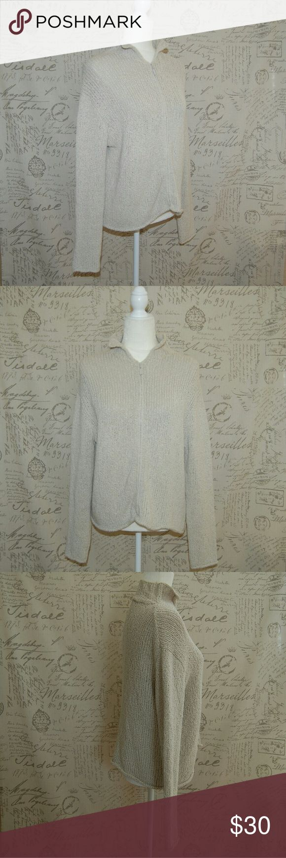 "Eileen Fisher Beige Zip Up Sweater Cardigan Small Beige knit Zip up cardigan sweater Small Gently worn Pit to pit 20.5"" Sleeves 22.5"" Length 21"" Eileen Fisher Sweaters Cardigans"