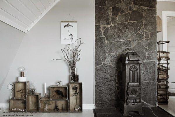 ateljé, arbetsrum, lådvägg, lådväggen, tavla, tavlor, poster, oak, ekollon konsttryck, kamin, gjutjärn, stenvägg, sten, trälåda, trälådor, vedställ, ved,