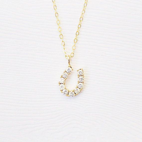 Gioiello oro collana di ferro di cavallo  14k oro di Treenbee, $34.00