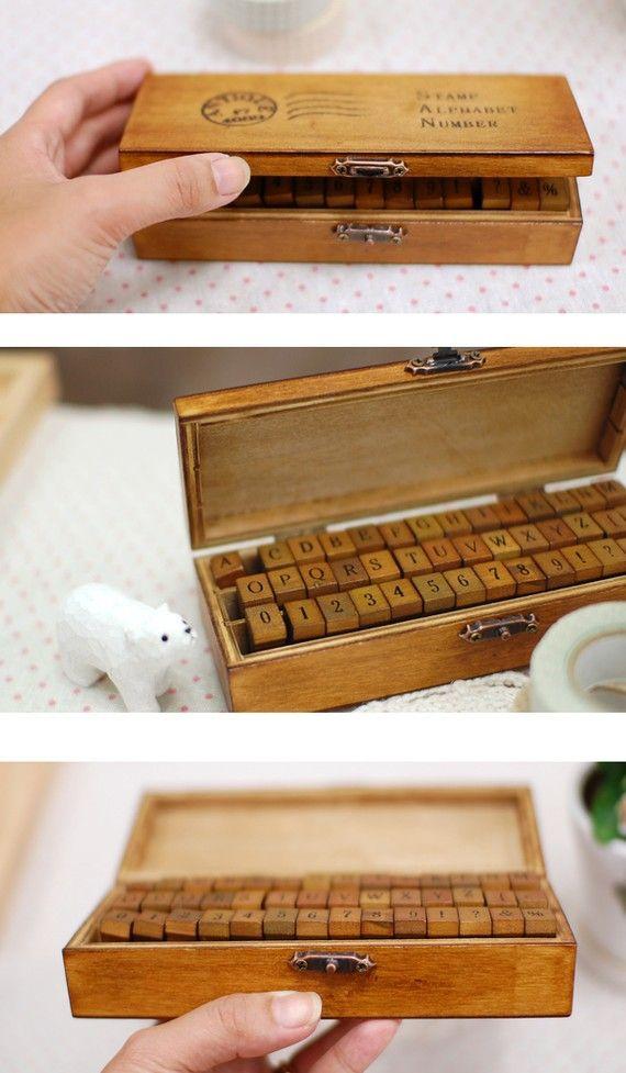 Antique Alphabet Wooden Rubber Stamp Set Ver.2