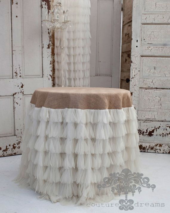 Chichi Ivory Petal and Jute Tablecloth Tulle and di CoutureDreams