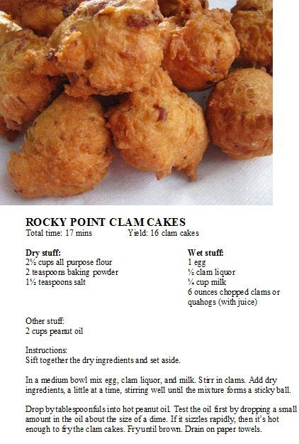 FOOTBALL FOOD FOR WHEN THE PATS PLAY:  #newenglandrecipes Rocky Point Clam Cakes Rocky Point Clam Cakes