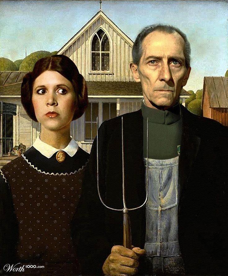 Star Wars Gothic.: Wood Art, Painting Art, American Art, Grant Wood, Gothic Art, Art Institution, Stars Wars, Art History, American Gothic