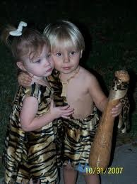 Twins-  Pebbles and Bam-Bam  #twins #Halloween #costumes