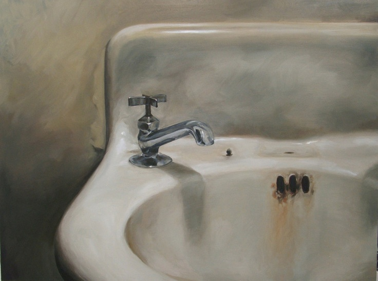 """Michael Lucas Anderson, """"Cornersink (A)"""", oil on canvas This reminds me of my great-grandmother's bathroom ♡"""