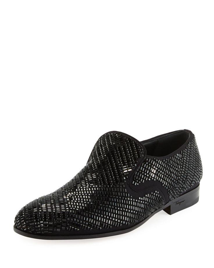 Delroy 2 Crystal-Studded Formal Loafer, Black