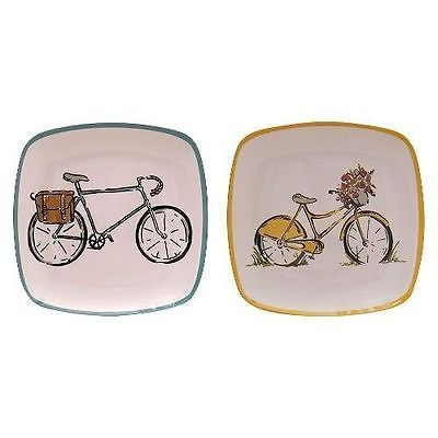 Threshold Square Bikes Appetizer Salad Plates 4Pc Blue Yellow Kitchen Bicycle