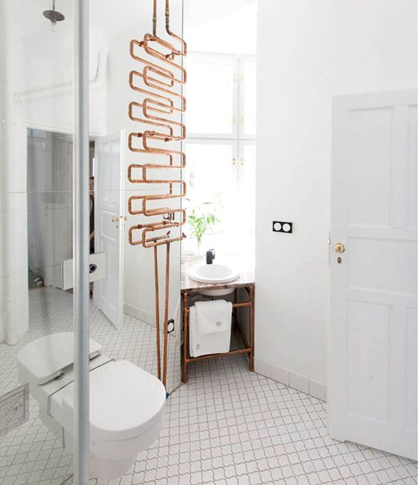 The Autor Rooms hotel in Warsaw modern white bathroom with exposed copper    via coco Best 25  Modern white bathroom ideas only on Pinterest   Modern  . Modern White Bathroom Tile. Home Design Ideas
