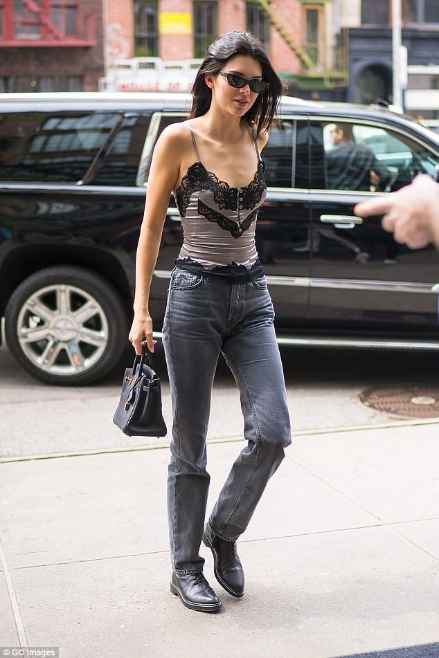 dab56f8f91e Kendall Jenner shows plenty of flesh in lace camisole