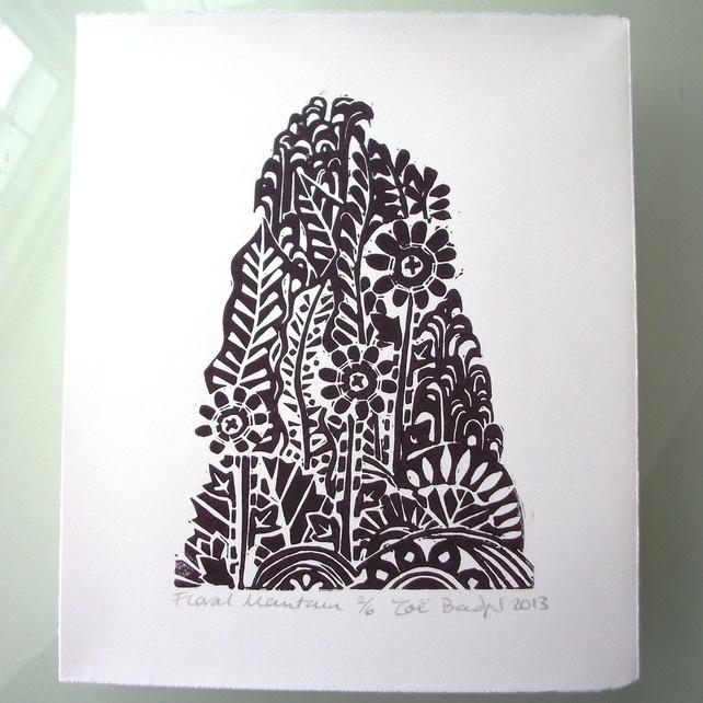 Zoe Bagder Floral Mountain lino print
