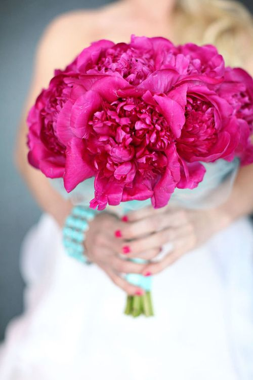 Peony bouquet hot pink with turquoise accents bold for Bright wedding bouquet