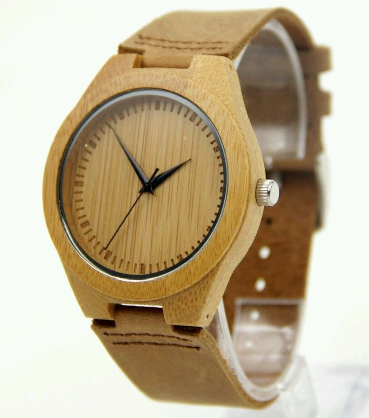 Hand Crafted Mens & Womens Wooden bamboo watch with genuine leather strap