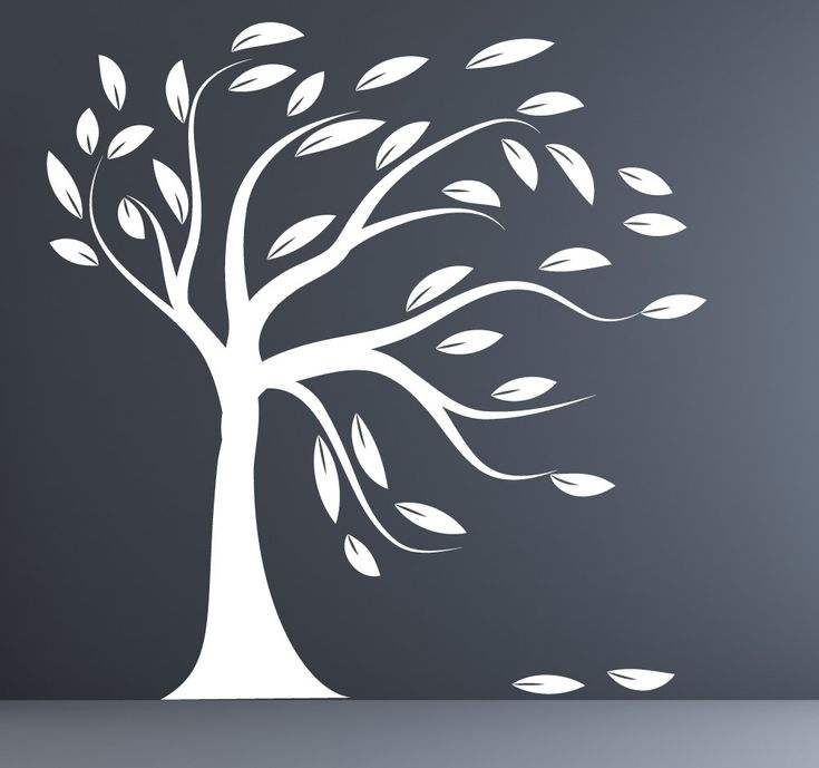 Modern decal silhouette tree wall sticker white blowing tree decal. $99.00, via Etsy.