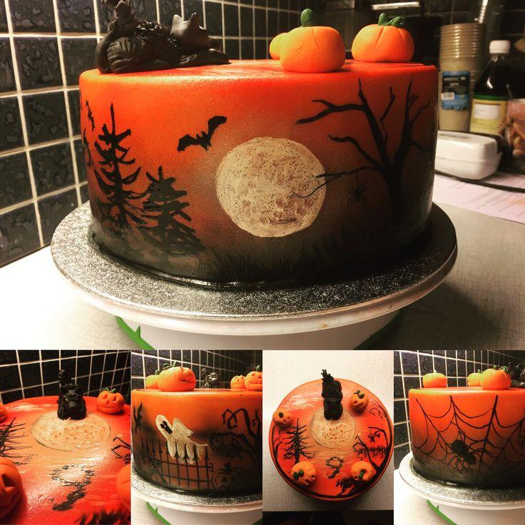 Halloween cake, fondant cake, painted cake, airbrush, werewolf cake, halloween theme
