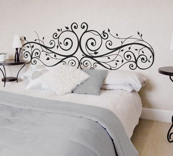 Vintage ornament wall sticker over a bed Romantic wall sticker for bedroom wall