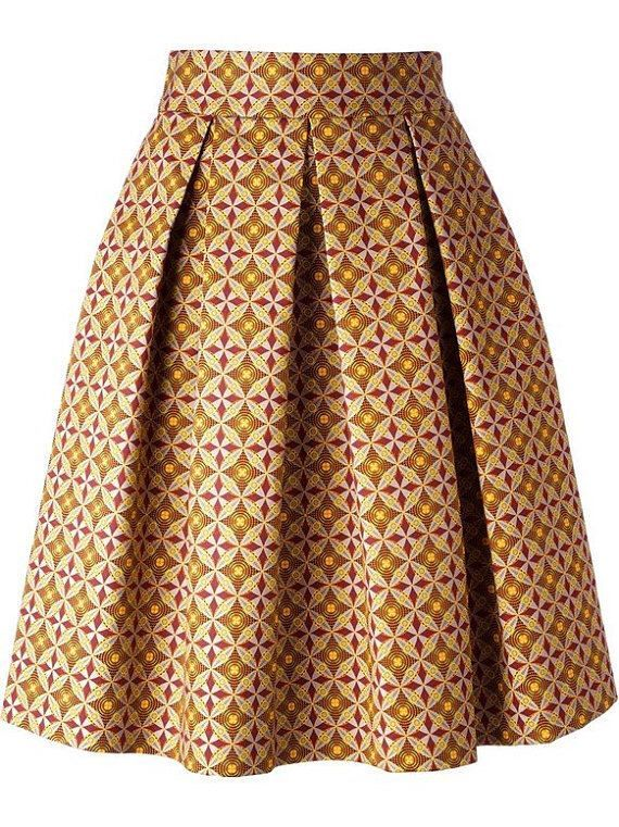 African print skirt, pleated midi skirt ~ African fashion, Ankara, kitenge, Kente, African prints, Braids, Asoebi, Gele, Nigerian wedding, Ghanaian fashion, African wedding ~DKK