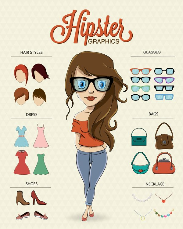 Hipster character illustration with hipster elements on Behance