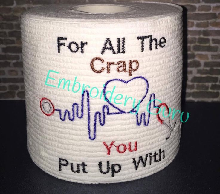 """Embroidered Toilet Paper, Gag Gift, """"For All The Crap"""", Medical Gag Gift, Medical gifts, Poop Humor, Gag Gift, by EmbroideryGuru on Etsy https://www.etsy.com/listing/262326084/embroidered-toilet-paper-gag-gift-for"""