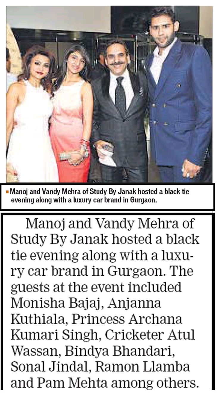 HT Live covers #StudybyJanak's #BlackTieEvening along with a #luxury# car brand in #Gurgaon.  Hosted by @Manoj and @VandyMehra the event was conceptualized on the theme - '#Chic ‪#‎Glamour & ‪#‎Men -‪#‎Cars, ‪#‎Suits & ‪#‎Single ‪#‎Malts'. Study By Janak showcased an entire line of ‪#‎MadeToMeasure #suits as well as ‪#‎elegant evening ‪#‎wear ‪#‎gowns for ‪#‎women in a ‪#‎classy ‪#‎ambiance — in unlimited uber luxury. bit.ly/1x08HrK