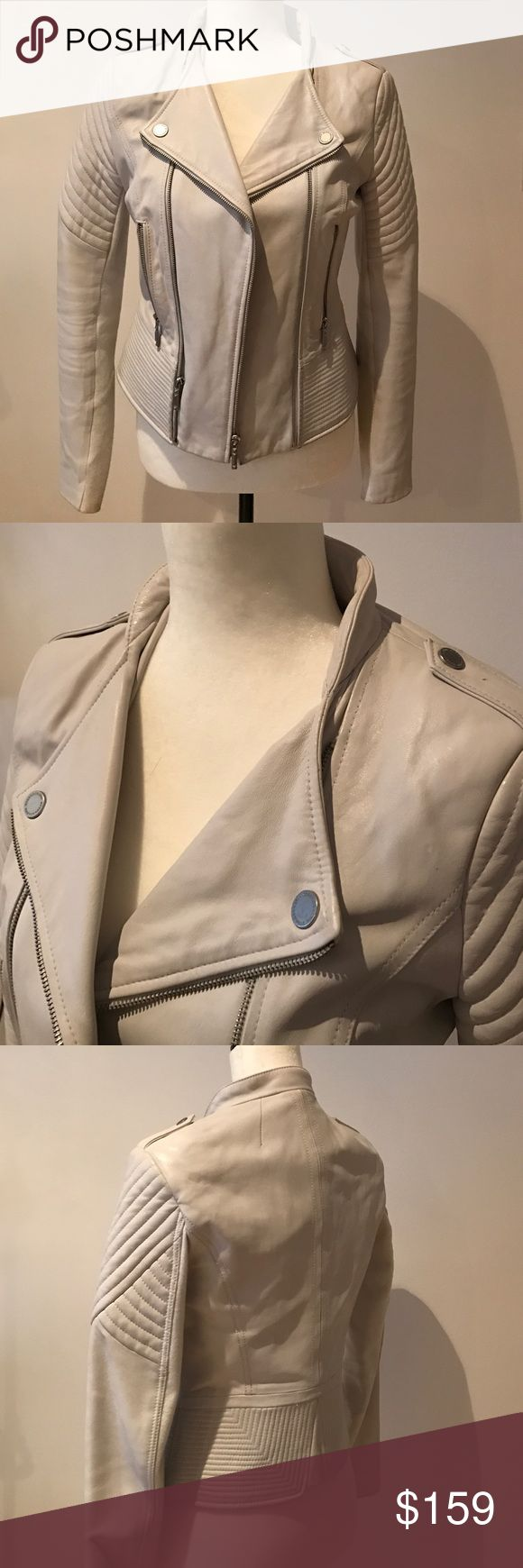 BCBG White Real Leather Jacket XS Excellent conditions | BCBG White Real Leather Jacket XS BCBGMaxAzria Jackets & Coats