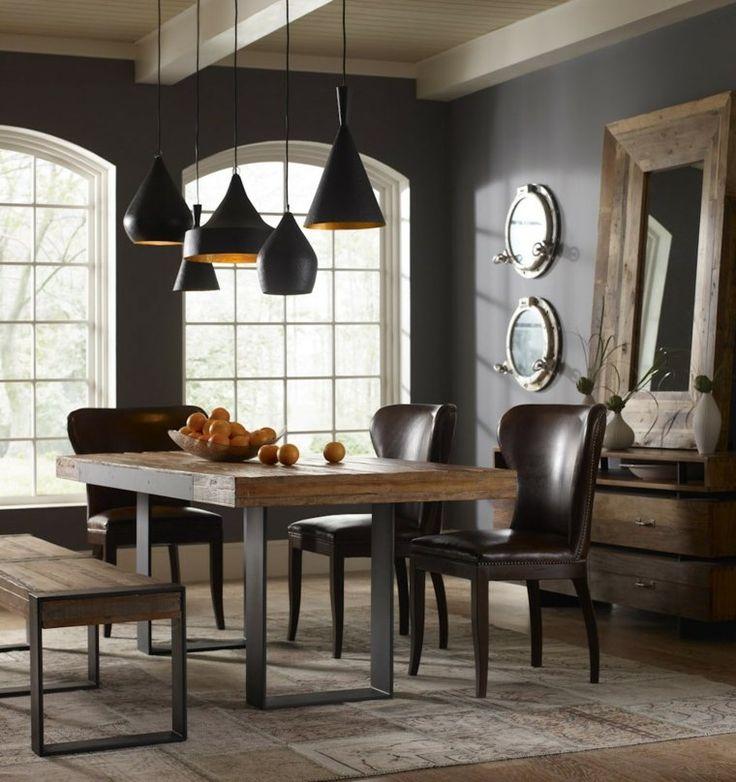 grand miroir salle manger avec un cadre en bois - Lustre Salle A Manger