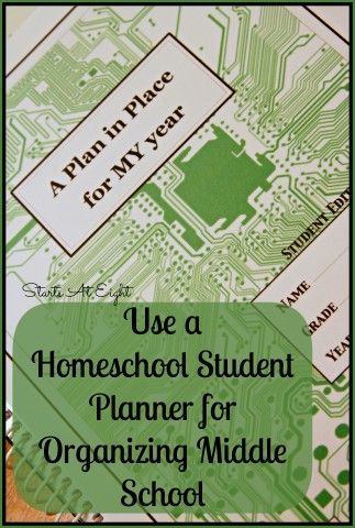 Use a Homeschool Student Planner for Organizing Middle School from Starts At Eight