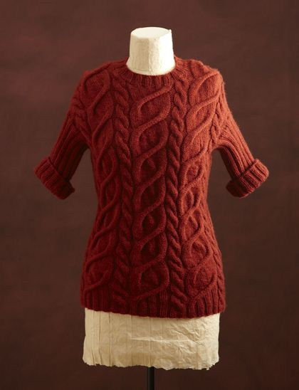 Yarn Companies Free Knitting Patterns : Free Knitting Pattern L0187AD Cabled Pullover And Cowl : Lion Brand Yarn Comp...
