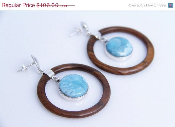 15% OFF Hoop Larimar Earrings Authentic Larimar by TheLarimarShop