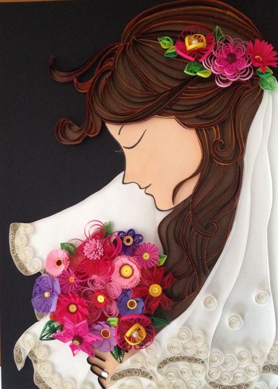 Novia con ramo de flores enmarcado en caja de por SinyeeCraft