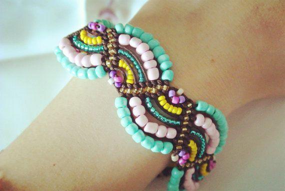 multi-colour beadwork bracelet-Bohemia style,bangle bracelet, braided bracelet