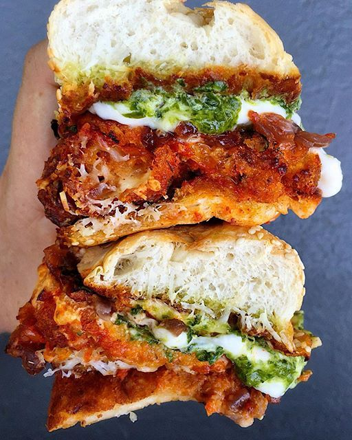 Chicken Parm Sandwiches With Spicy Marinara, Burrata, Caramelized Onions And Chimichurri on @the_feedfeed https://thefeedfeed.com/dad_beets/chicken-parm-sandwiches-with-spicy-marinara-burrata-caramelized-onions-and-chimichurri