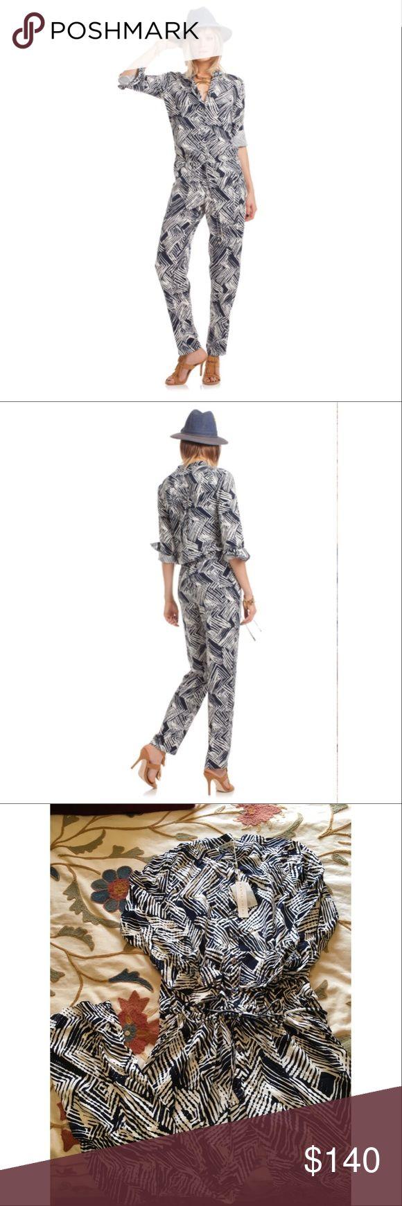 Trina Turk jumpsuit Brand NWT Trina Turk jumpsuit. Navy and cream design. Soft comfortable fabric. Trina Turk Pants Jumpsuits & Rompers