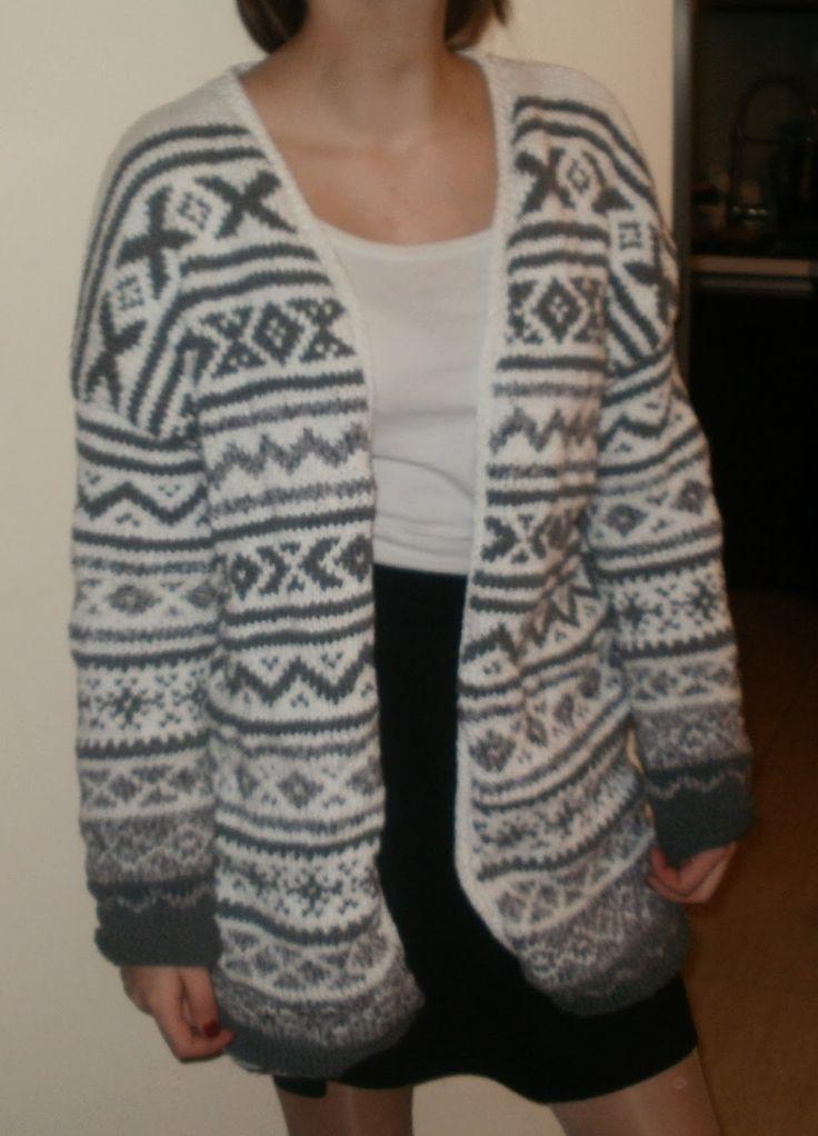 kardigan / blezer na drutach wzory norweskie