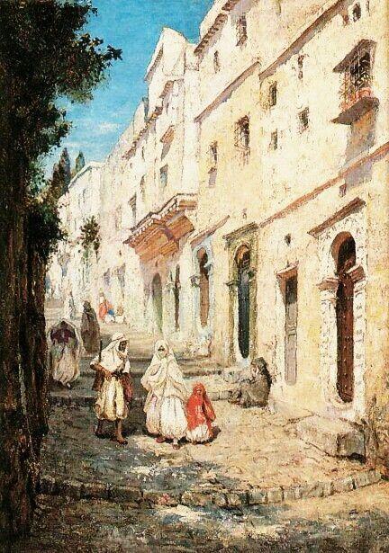 Algérie - Peintre Américain Addison Thomas Millar (1860 – 1913), huile sur toile , Titre : Rue de la Casbah d'Alger