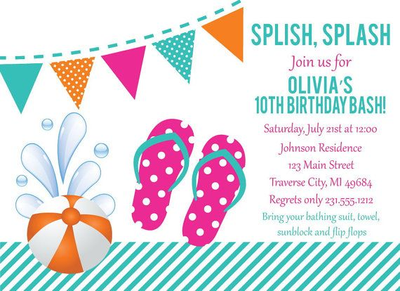 126 best Kids Birthday Party Invitations images on Pinterest - pool party invitation