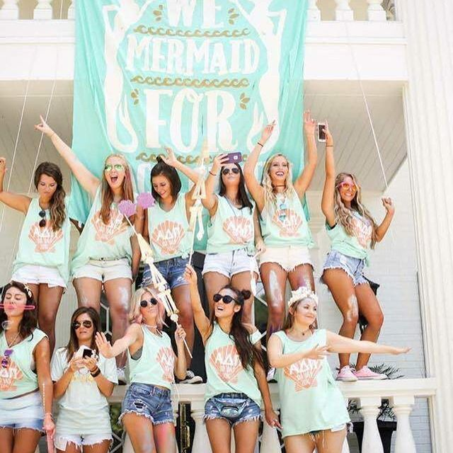 Sisterhood | Bid Day | Recruitment | ADPi | Alpha Delta Pi | Mermaid | South by Sea | Greek Tee Shirts | Greek Tank Tops | Custom Apparel Design | Custom Greek Apparel | Sorority Tee Shirts | Sorority Tanks | Sorority Shirt Designs