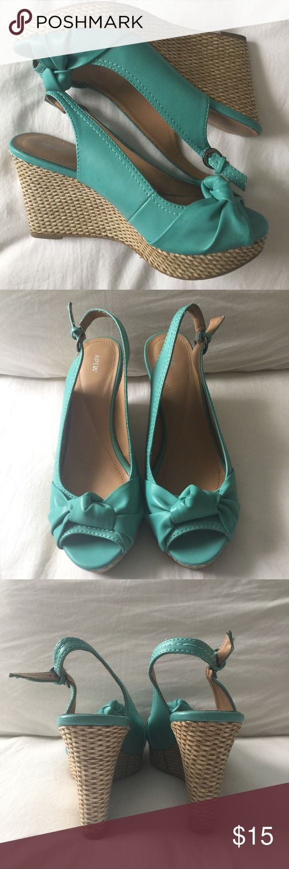 """Apt 9 Callista Wedges Only worn twice, in great condition. 4"""" heel, 1"""" platform. Open toe with heel strap. These teal wedges are comfortable and will give a great pop of color to any outfit! Perfect for summer. Offers will either be accepted or countered. Apt. 9 Shoes Wedges"""