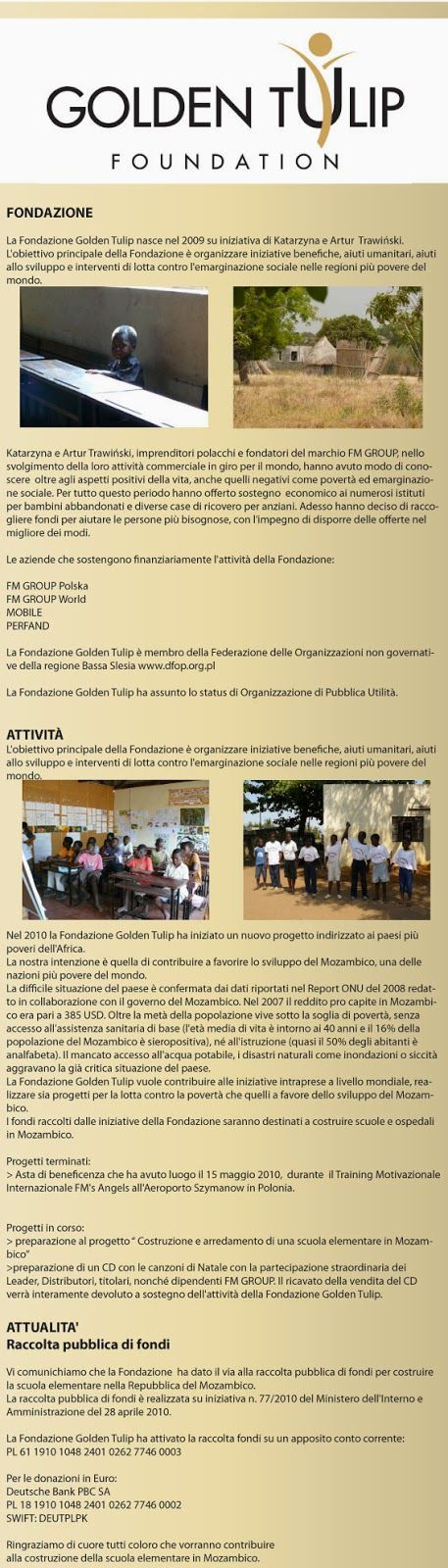 FM PROFUMI e non solo: Fondazione Fm Group: GOLDEN TULIP
