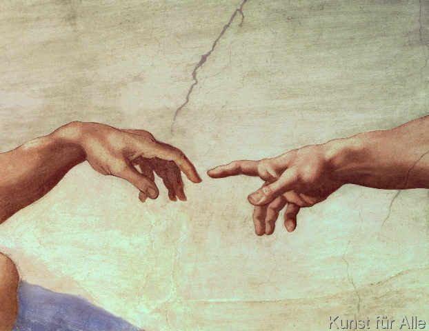 Michelangelo Buonarroti - Hands of God and Adam, detail from The Creation of Adam, from the Sistine Ceiling, 1511