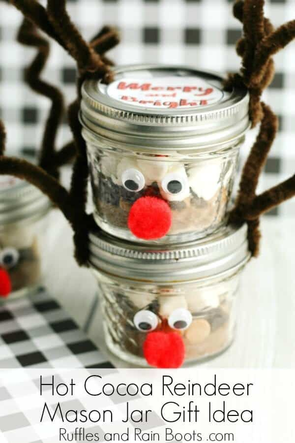 Peanut Butter Hot Chocolate Mix Reindeer Mason Jar Gift Recipe Mason Jar Gifts Mason Jar Christmas Gifts Jar Gifts