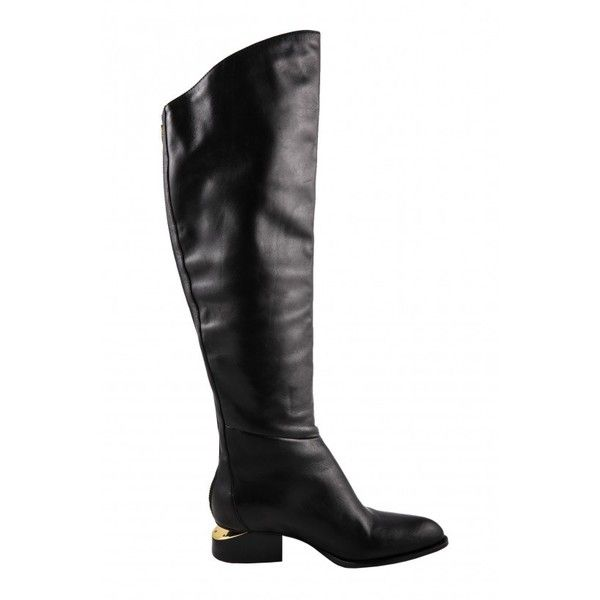 Alexander Wang Sigrid Backzip Knee Boots via Polyvore featuring shoes, boots, cut-out shoes, pointed toe boots, pointed toe shoes, alexander wang boots and alexander wang