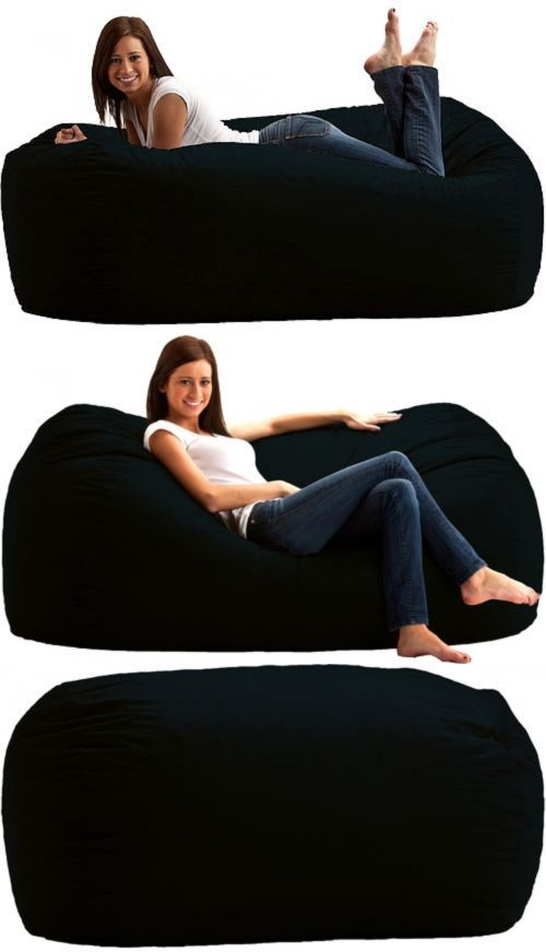 Bean Bags and Inflatables 48319: Giant Bean Bag Chair Lounger Media 6 Black Oversize Memory Foam Lounge -> BUY IT NOW ONLY: $106.24 on eBay!