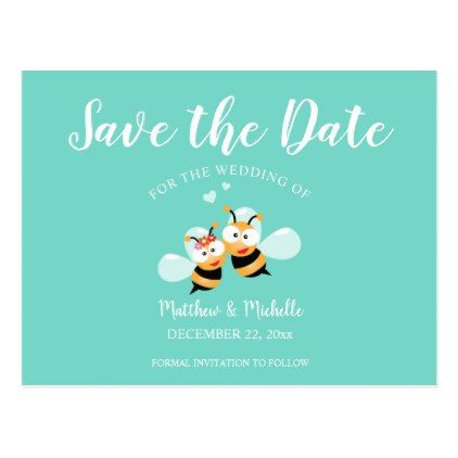 #Elegant Mint To Be Honey Bee Save The Date Wedding Postcard - #wedding gifts #marriage love couples
