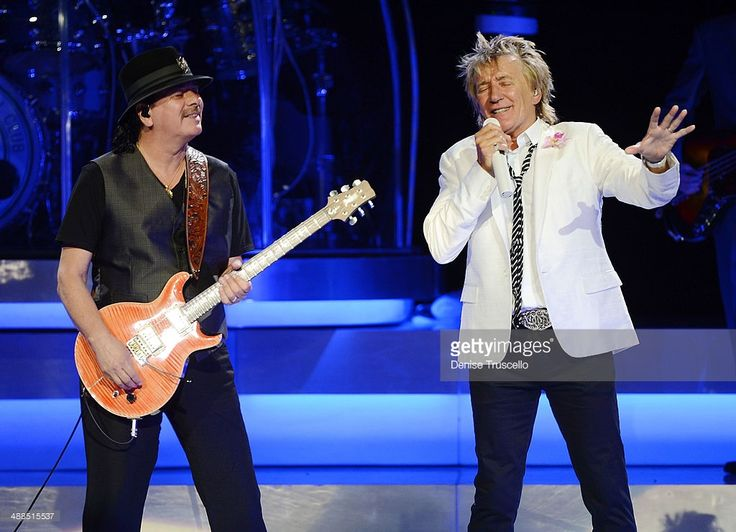Carlos Santana and Rod Stewart perform together ahead of their US co-headlining tour launching May 23. Seen here during Rod Stewarts show at Caesars Palace on May 6, 2014 in Las Vegas, Nevada.