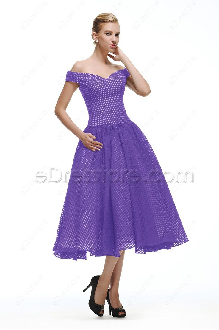 The lavender cocktail dress is made of checked organza, off the shoulder neckline, ball gown skirt finishing with tea length.