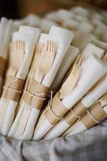 Great forks and napkins, wrapped with a simple band of kraft paper and tied with garden twine -- What could be more perfect for casual, rustic wedding?