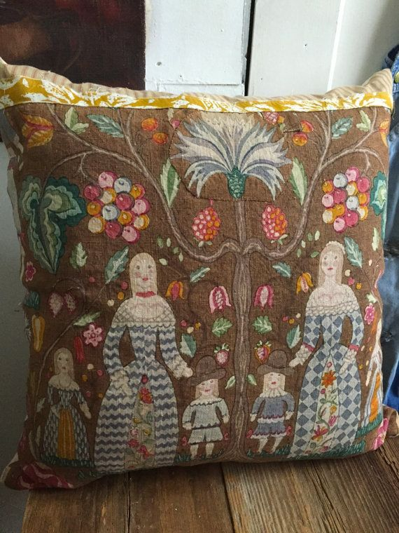 "Colorful Linen Pillow 26"" Square Depicting Fancy Folk"