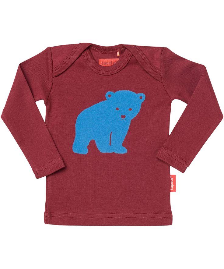 Tapete schattig wijnrode organische t-shirt met lichtblauwe ijsbeer. tapete.nl.emilea.be
