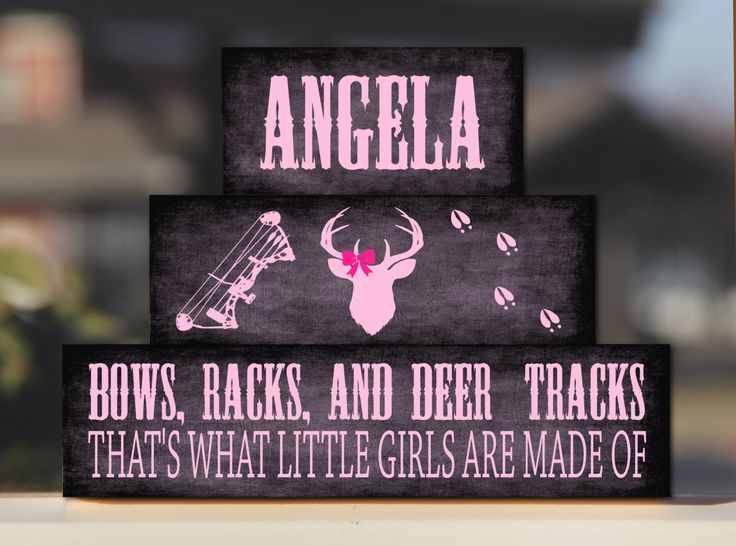 Bows Racks and Deer Tracks Baby Girl Nursery Deer Antler Camo Blocks Personalized Rustic Country Bedroom Decor -Trio Wood Stack - Decor/Gift by BlendedCreationsInc on Etsy